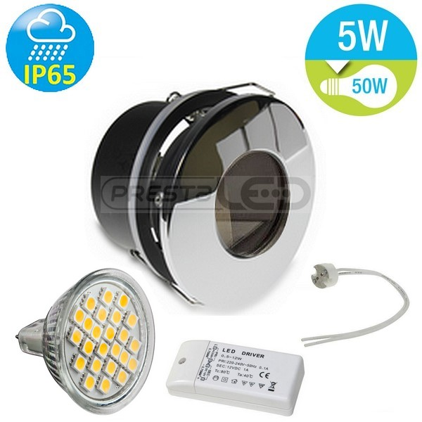 spot encastrable chrome fixe led etanche ip65 12v 24 led