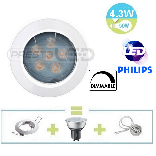 spot encastrable fixe blanc led gu10 philips 4 3w blanc chaud dimmable pour variateur. Black Bedroom Furniture Sets. Home Design Ideas